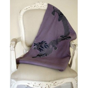 Luxurious cashmere blanket in lavender with Happy Dragon embroidered in silk and pearls.