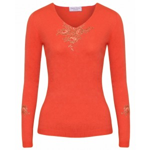 Coral V Neck Cashmere Top