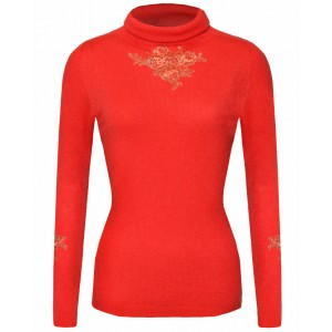 Coral Roll Neck Cashmere Top
