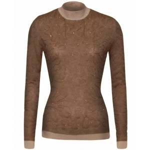 Beige Sylvic Double Stitched Cashmere Top