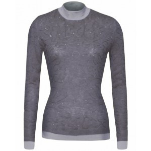 Grey Sylvic Double Stitched Cashmere Top