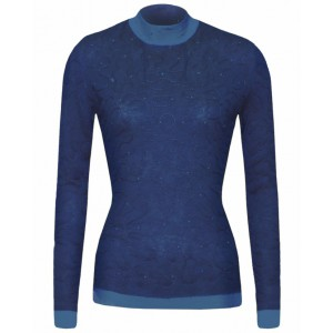Blue Sylvic Double Stitched Cashmere Top