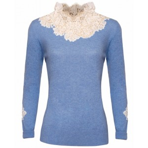 Duchess in Blue Cashmere Top with Chantelle Lace