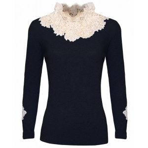 Duchess in Black Cashmere Top with Chantelle Lace
