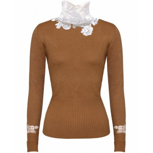 Princess in Brown Cashmere Top with Chantelle Lace