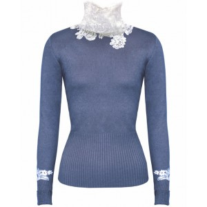 Princess in Grey Cashmere Top with Chantelle Lace