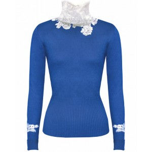 Princess in Blue Cashmere Top with Chantelle Lace