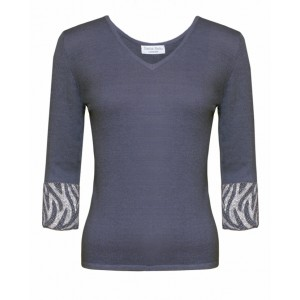 Valentino in Grey Cashmere Top and Zebra embroidered cuffs