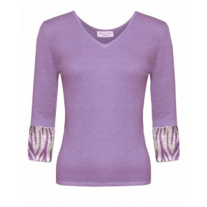 Valentino in Lilac Cashmere Top and Zebra embroidered cuffs