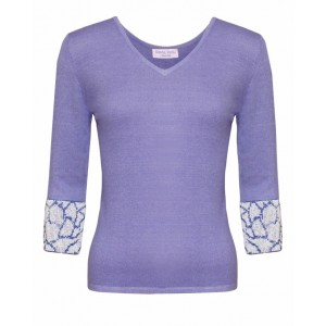 Valentino in Lavender Cashmere Top and Giraffe embroidered cuffs