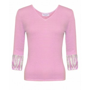 Valentino in Baby Pink Cashmere Top and Zebra embroidered cuffs