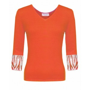 Valentino in Orange Cashmere Top and Zebra embroidered cuffs