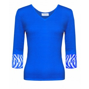 Valentino in Blue Cashmere Top and Gitaff embroidered cuffs