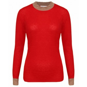 Crochet Red and Beige Cashmere Top