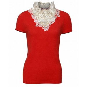 Duchess in Coral Cashmere Top with Chantelle Lace