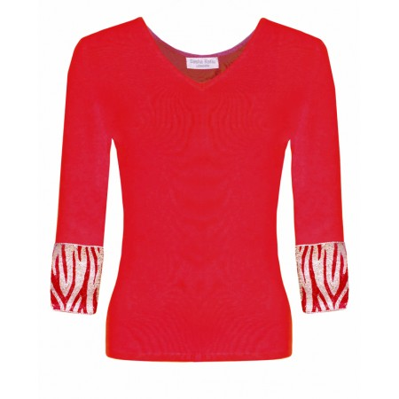 Valentino in Red Cashmere Top and Gitaff embroidered cuffs