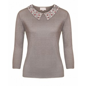 Pomegranate in Hermes Grey Cashmere Top