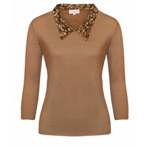 Audrey in Beige Cashmere Top with animal print  embroidered collar