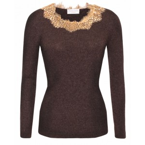 Bucelati in Grey with Gold Lace neck Cashmere Top