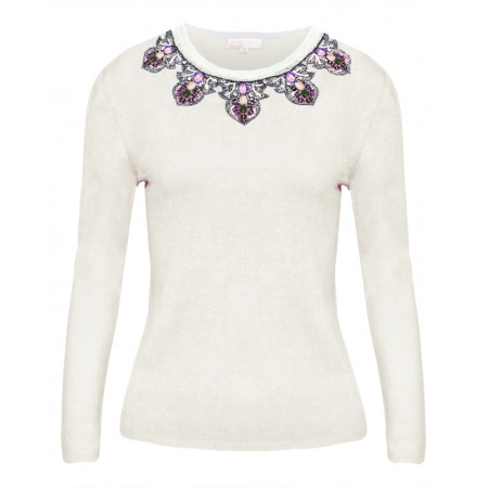 Amethyst in Cream Cashmere Top