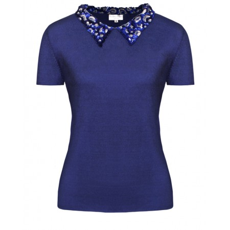 Audrey in Cobalt Blue Cashmere Top with animal print  embroidered collar