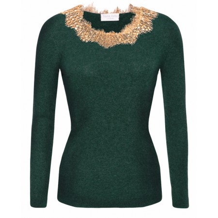 Bucelati in Green with Gold Lace neck Cashmere Top