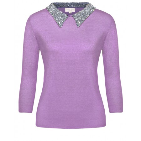 Audrey in Lilac Cashmere Top with diamanté and pearls beaded collar