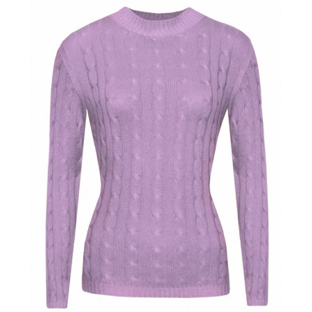 Gretta in Lilac, Cable Knit Cashmere Top