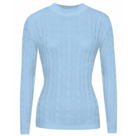 Gretta in Baby Blue, Cable Knit Cashmere Top