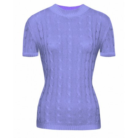 Gretta in Lavander, Cable Knit Cashmere Top
