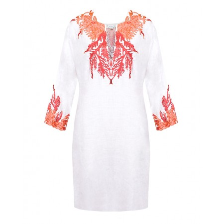 White Linen Tunic with Real Coral Embroidery