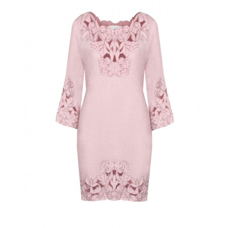 Baby Pink Linen Tunic with open cut Rose Embroidery