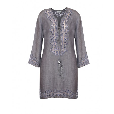 Grey Linen and Organza Tunic with Coralia Embroidery