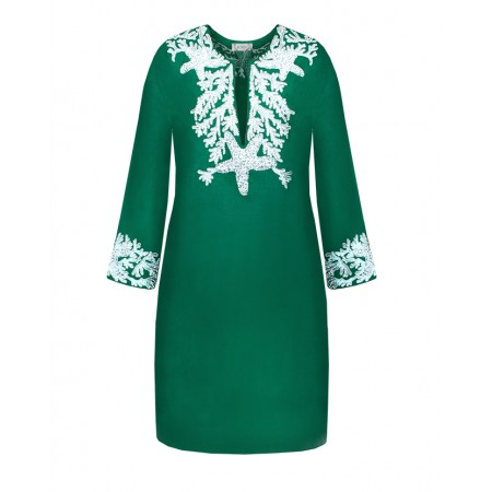 Green Linen Tunic with Starfish Embroidery