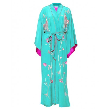 Green and Pink Silk Kimono with Birds of Paradise Embroidery