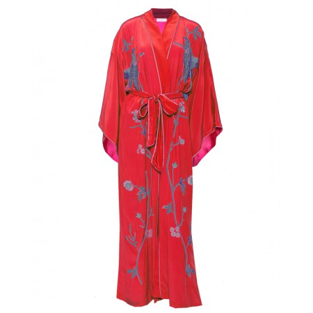 Red and Pink Silk Kimono with Birds of Paradise Embroidery